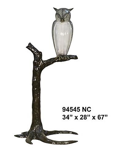 Bronze Owl in Tree Statue - AF 94545NC