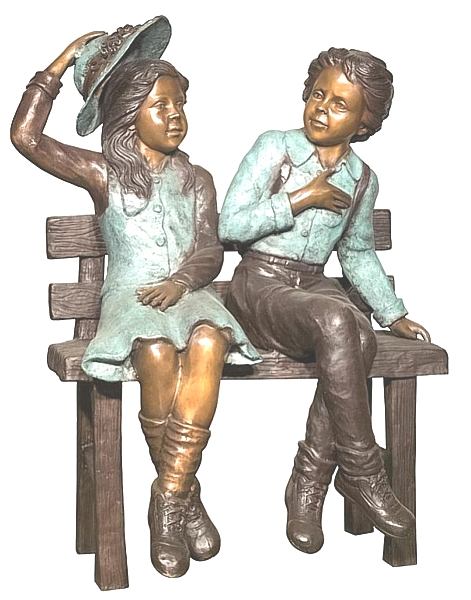 Bronze Boy & Girl Bench Statue - AF 94568