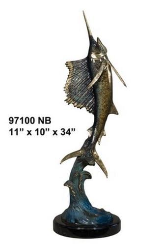 Bronze Flying Sailfish Statue - AF 97100NB