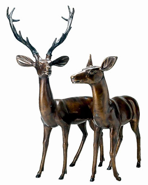 Bronze Deer Buck & Doe Statues - DD A-071