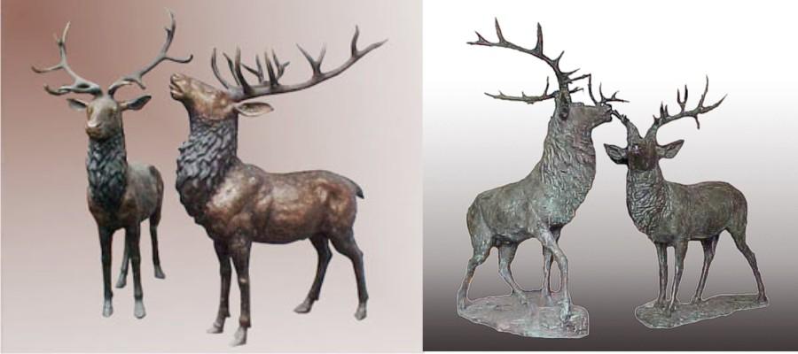 Bronze Deer Buck Statues - PA A-1039