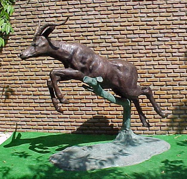 Bronze Jumping Impala Statue - PA A-1101