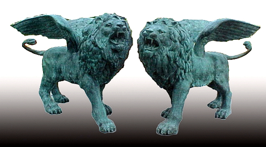 Bronze Winged Lion Statues - PA A-1118