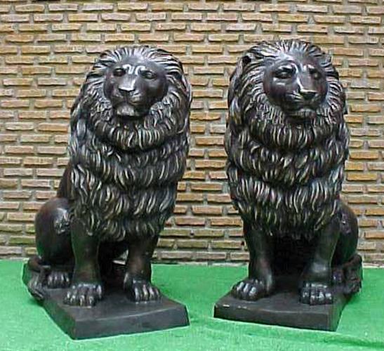 Bronze Lion Statues - PA A-1129