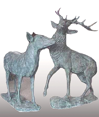 Bronze Deer Buck & Doe Statues