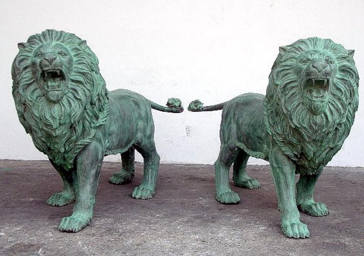 Bronze Lion Statues - PA A-1180
