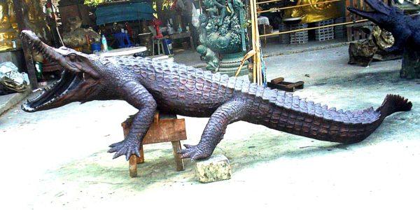Bronze Alligator Fountain