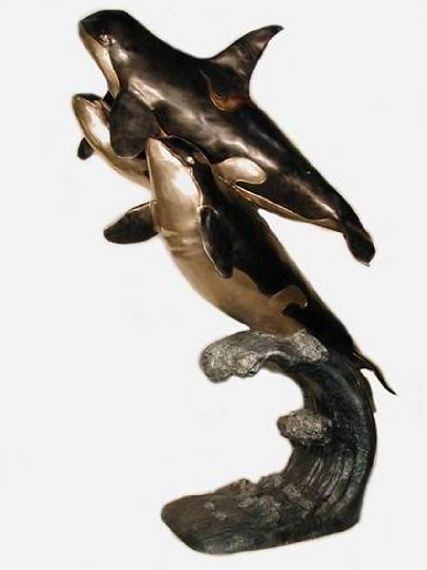 Bronze  Orca Whales Statue - AF 28460-S