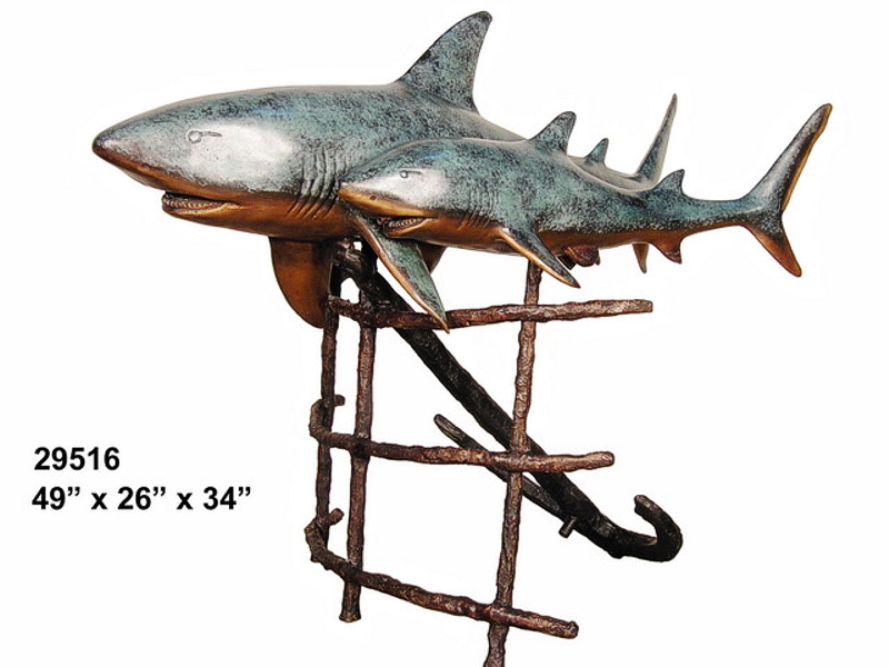 Bronze Sharks Fountain |Statue - AF 29516