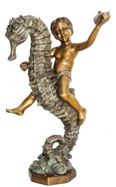 Bronze Boy Riding Seahorse Statue - KT AP-758
