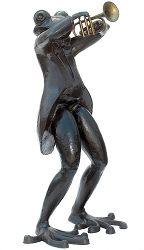 Bronze Frog Trumpet Statue - ASB 826