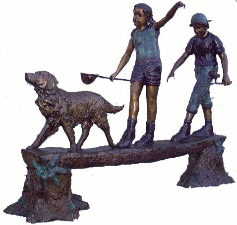Bronze Kids Tree Log Statue - ASB 844