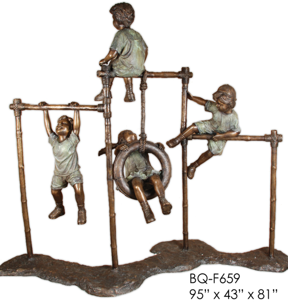 Bronze Kids on Monkey Bars Statues - ASI BQ-F659