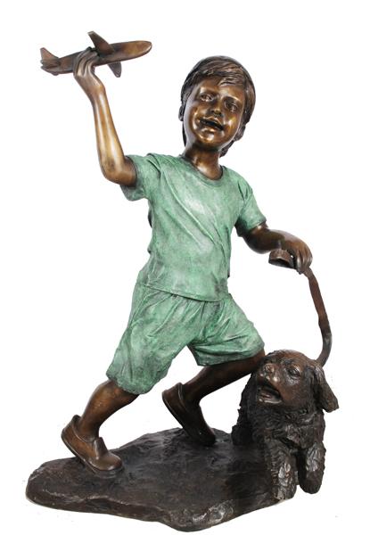 Bronze Boy, Dog & Plane Statue - ASI BQ-G374