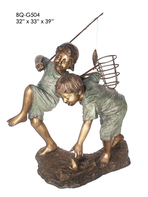Bronze Boys Catching Fish & Frog Statue - ASI BQ-G504