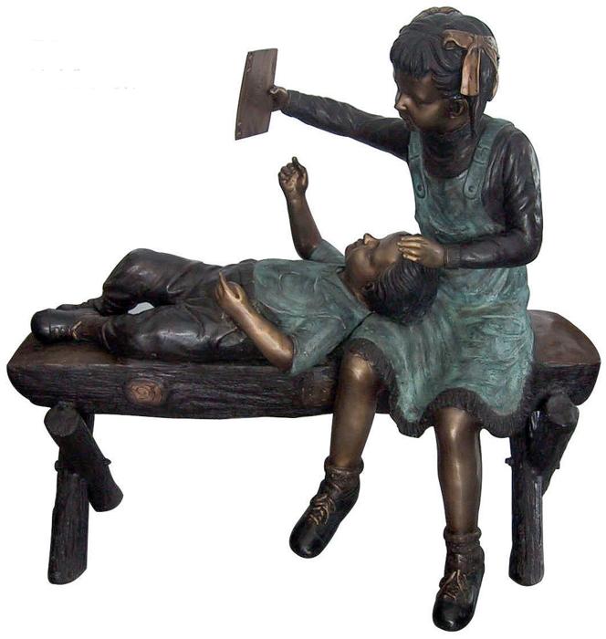 Bronze Children Bench Reading - DD G-043