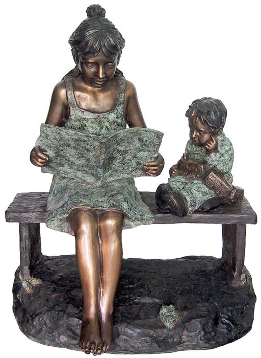 Bronze Girl Reading to Boy Bench Statue - DD G-045