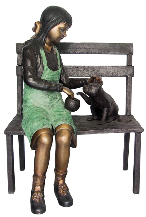 Bronze Girl & Cat Statue