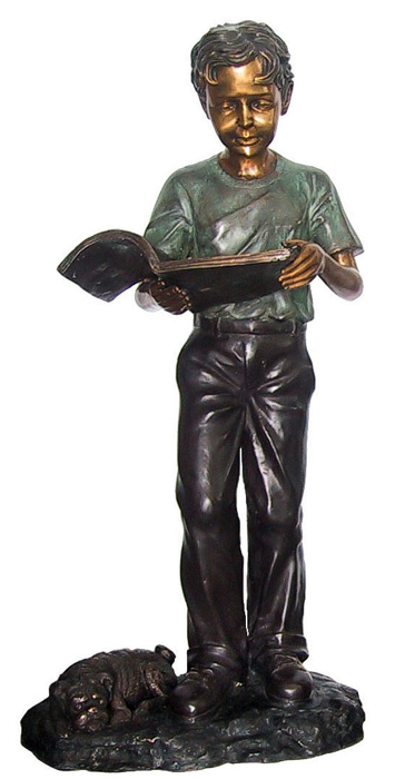 Bronze Boy Reading Book Statue - DD G-052