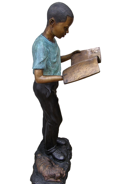Bronze African American Boy Reading Statue - DD G-05A