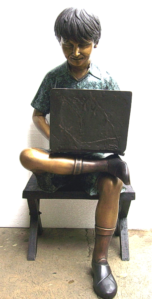 Bronze Boy with Laptop Statues - DD BCD02