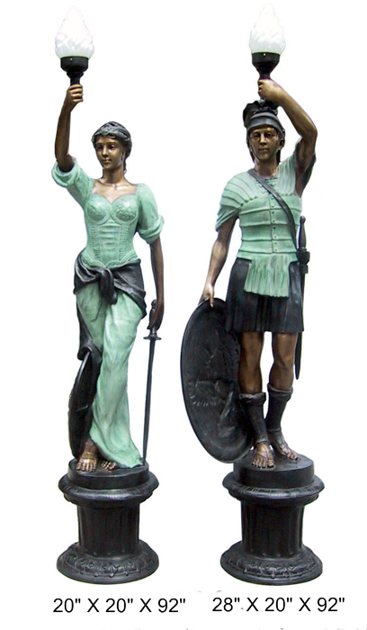 Bronze Warrior Torchiere Lamps - DD BL2-01