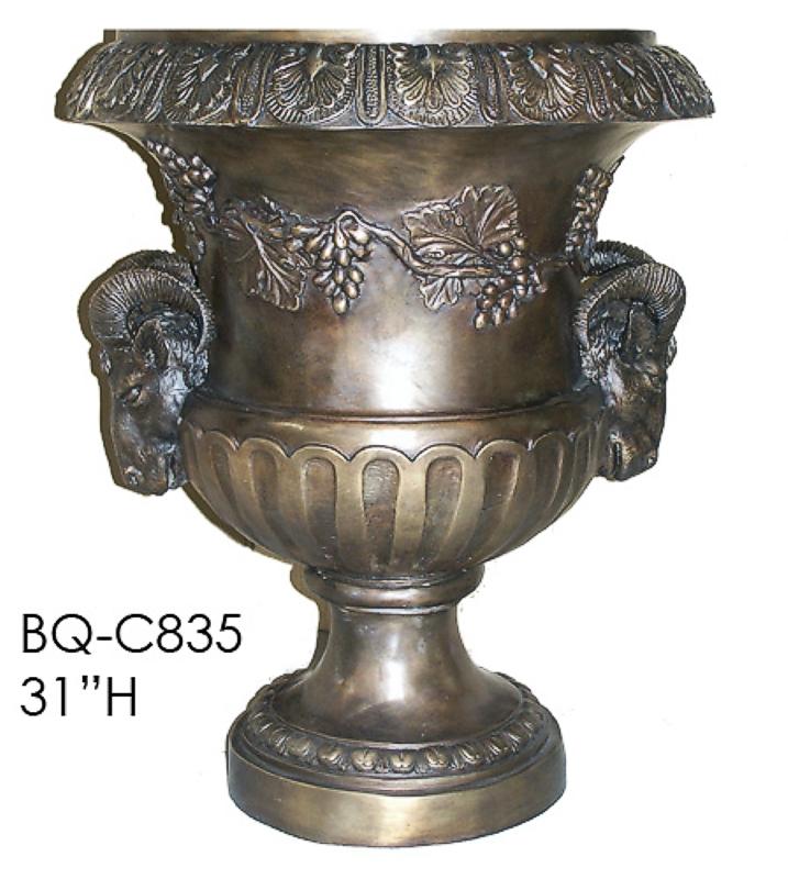 Bronze Rams Planter Urn - ASI BQ-C835
