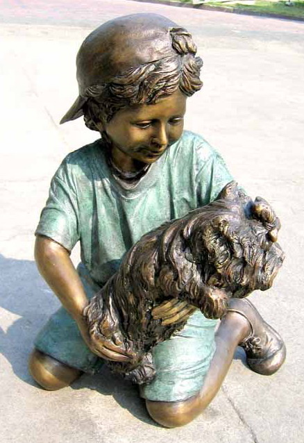 Bronze Boy and Dog Statue - ASI BQ-G340