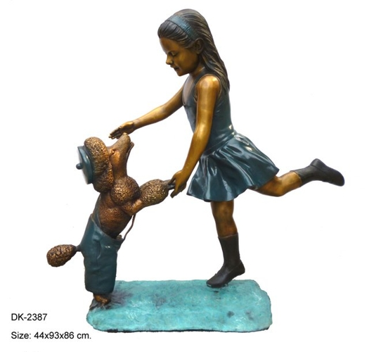 Bronze Girl and Dog Statues - DK 2387