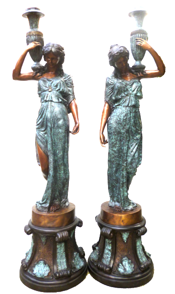 Bronze Ladies Torchiere Lighting - DK 1411
