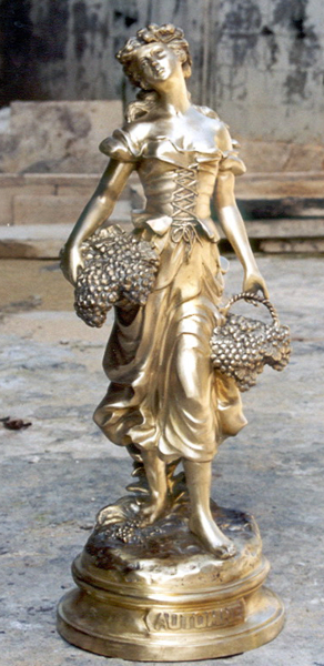 Bronze Lady Holding Basket Statue