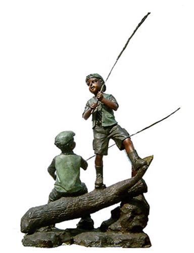 Bronze Boys Fishing on Log Statue - DK 1885
