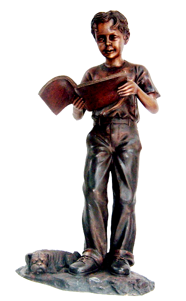 Bronze Boy Reading Book Statues - DK 1906