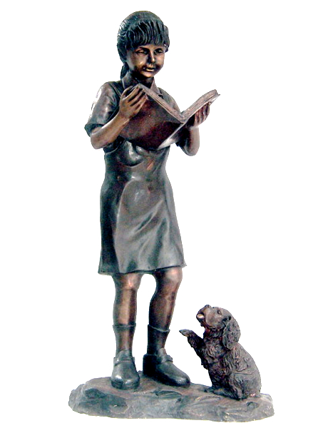 Bronze Girl Reading Book & Dog Statue - DK 1912