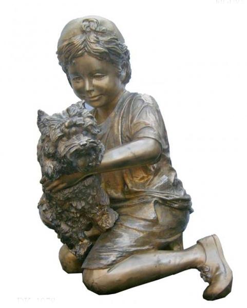 Bronze Boy and Dog Statue - KT DK-1978