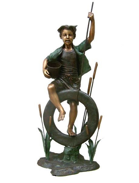 Bronze Boy on Tire Swing Statue - DK 1982A