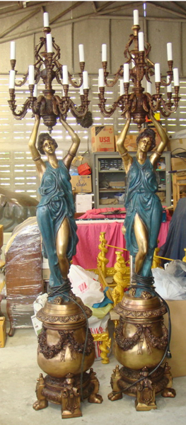 Bronze Ladies Torchiere Lighting - DK 2091
