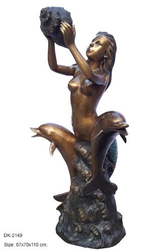 Bronze Mermaid Dolphins Statue - DK 2149S