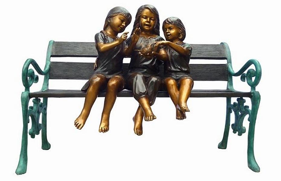 Bronze Children Bench Reading - DK 2509