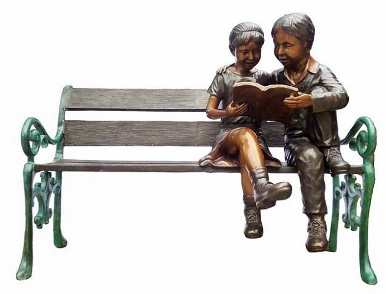 Bronze Children Bench Reading - DK 2510