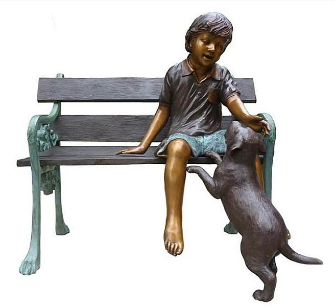 Bronze Boy & Dog on Bench - DK 2513