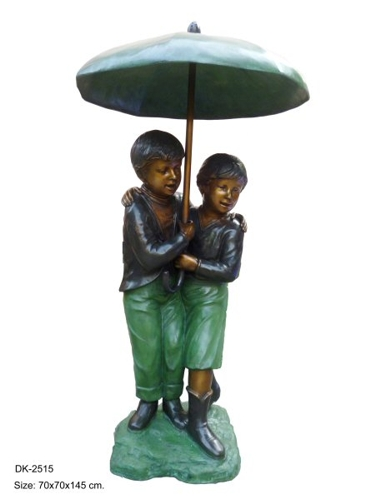 Bronze Boy & Girl Umbrella Statue - DK 2515