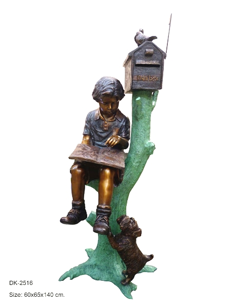 Bronze Children Reading Mailbox Statues - DK 2516