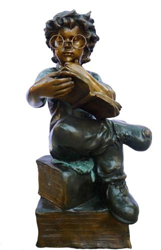 Bronze Boy Scholar Reading Statue - DK 2575