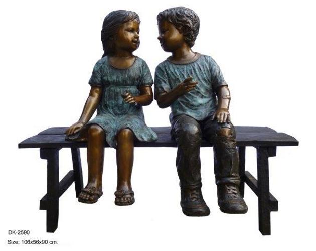 Bronze Children Bench Reading - DK 2590