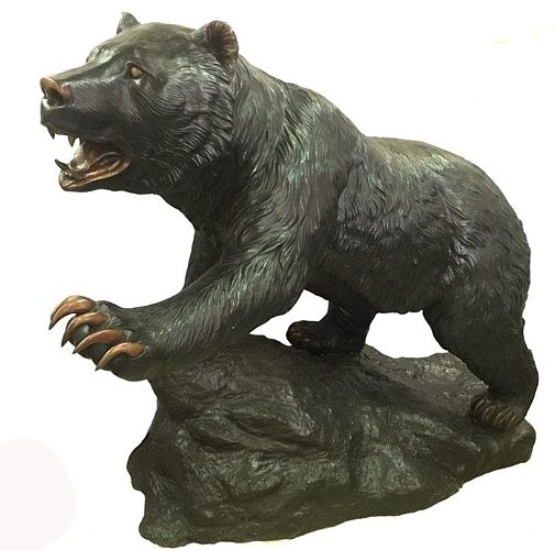 Vicious Attacking Black Bear Bronze Statue - DK-2684