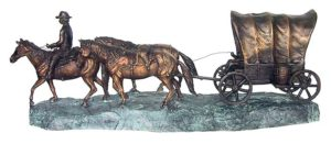 Bronze Wagon Train Statue