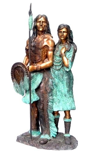 Bronze Native American Indian and Squaw Statue - DD E-276