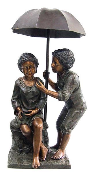 Boy & Girl Bronze Umbrella Fountain - DD F-040F
