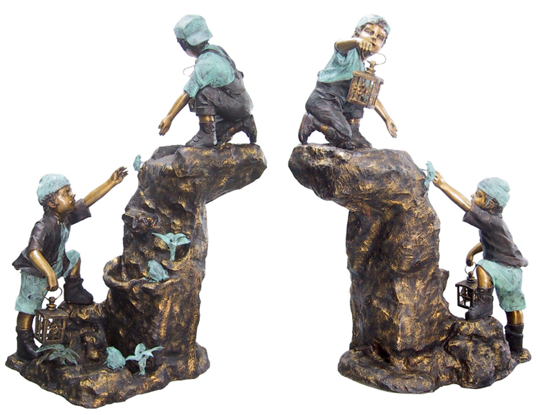 Bronze Boys Climbing Rock Fountain Statue - DD F-047